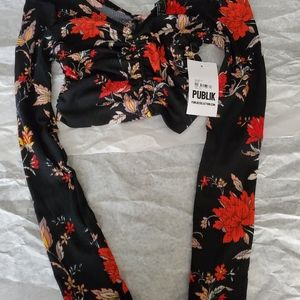 Floral Ruched Crop Top